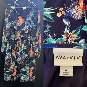 Tropical floral dress on navy background